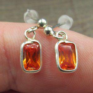 Sterling Silver Orange Tiny Rectangle CZ Earrings